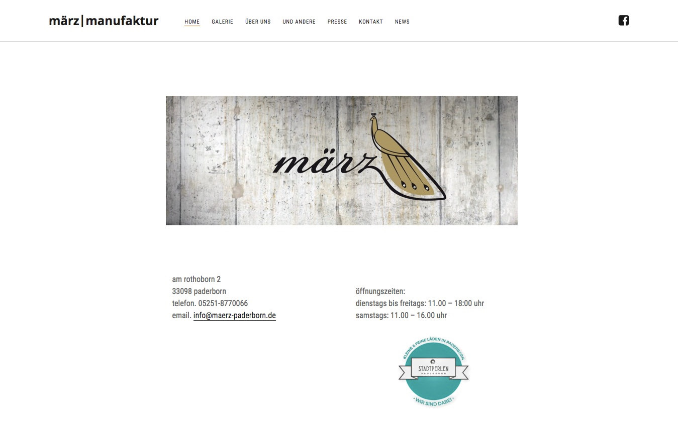 März Manufaktur Paderborn Website (Referenz Hanna Brunken)