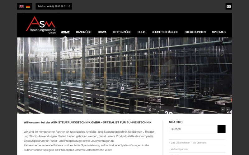 ASM Steuerungstechnik Website (Referenz Hanna Brunken)