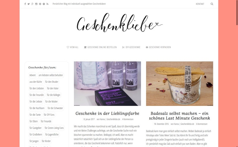 Geschenkliebe.de Website (Referenz Hanna Brunken)