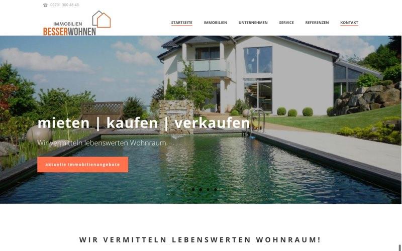 Immobilien BesserWohnen Website (Referenz Hanna Brunken)